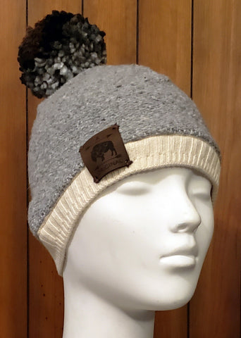 Grey Mexican Blanket Beanie with Grey Brown Ombre Pom