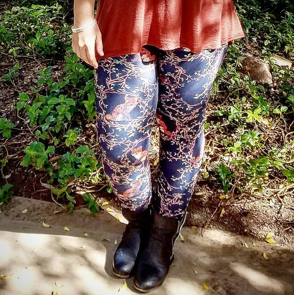 Floral Fox Leggings