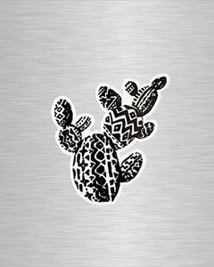 Aztec Prickly Pear B&W Vinyl Sticker/Decal