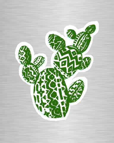 Aztec Prickly Pear Green Vinyl Sticker/Decal