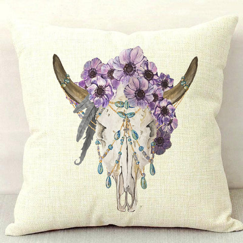 Bohemian Skull Throw Pillow