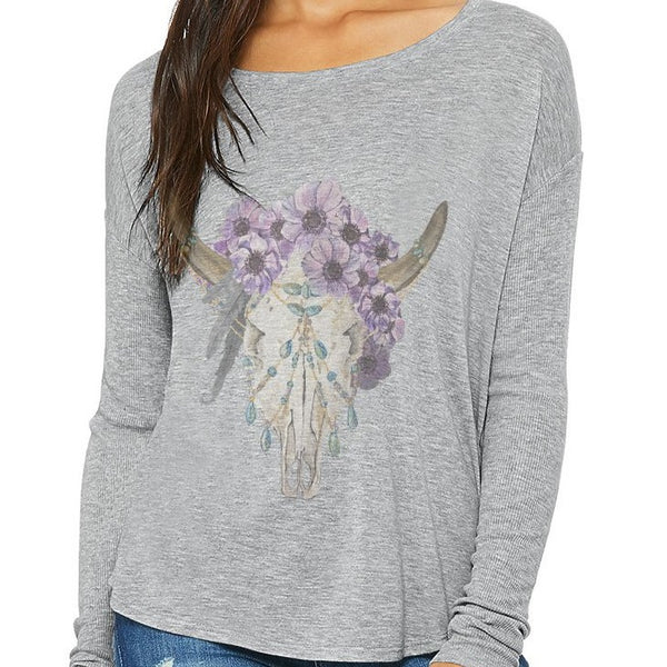 Bohemian Skull Long Sleeve T-shirt