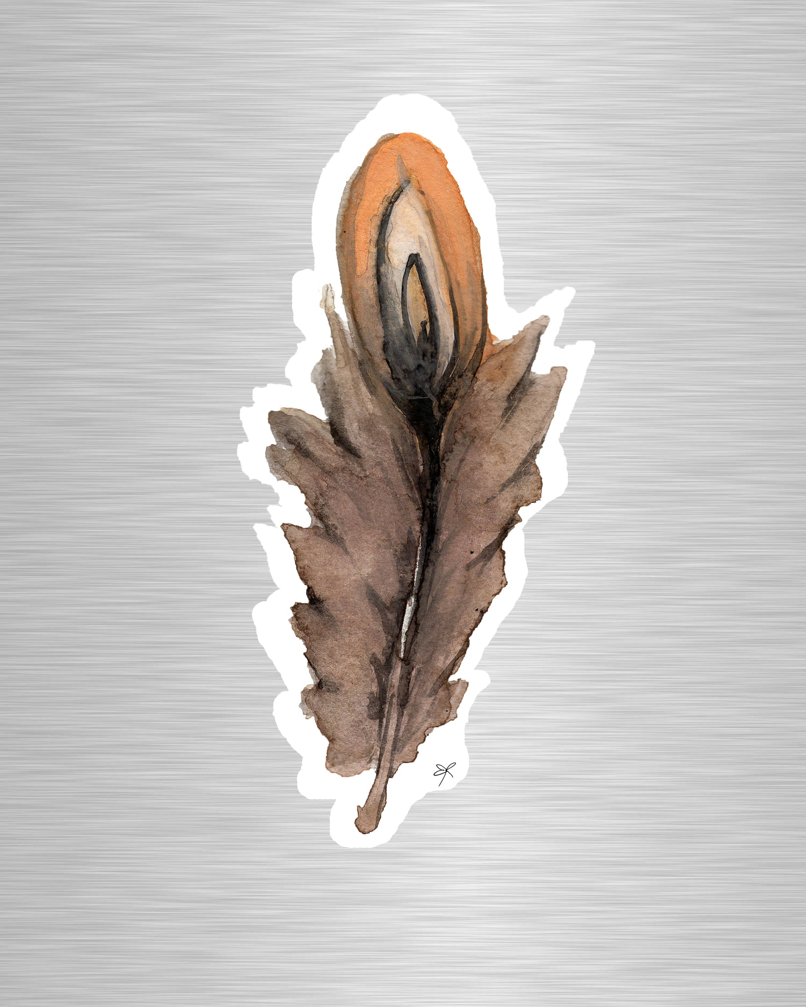 Brown Feather Vinyl Sticker/Decal