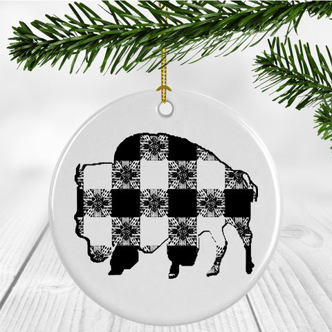 Buffalo Gals' Plaid Buffalo Ornament