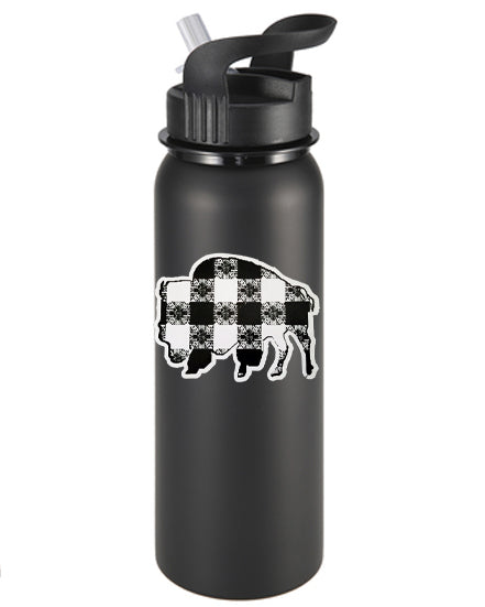 Buffalo Gals' Plaid Buffalo B&W Vinyl Sticker/Decal