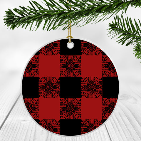 Buffalo Gals' Plaid in Red Ornament