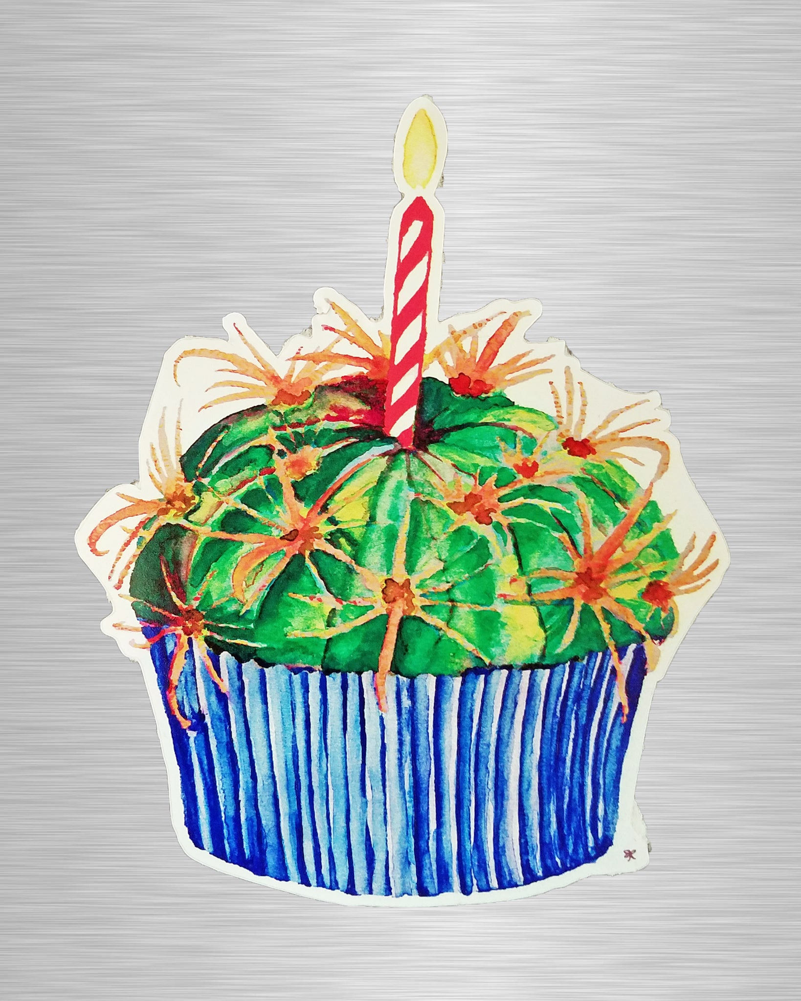 Cactus Cupcake In Blue Sticker/Decal