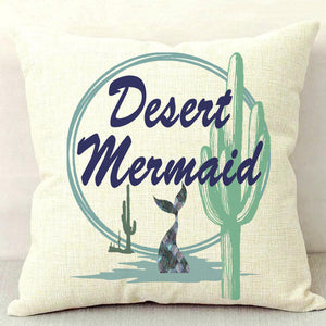 Desert Mermaid Throw Pillow