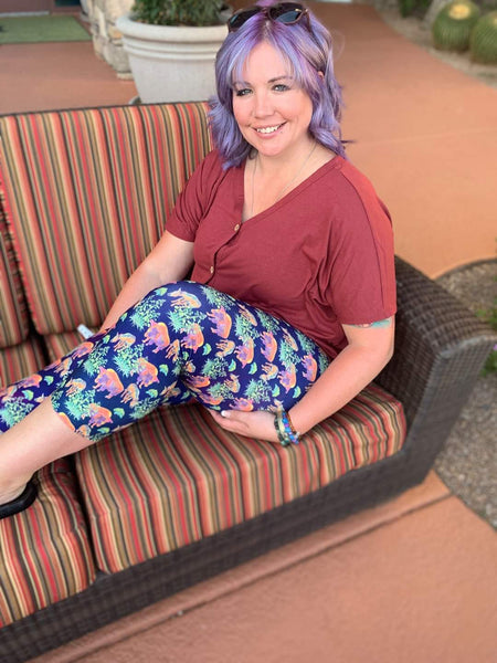 Watercolor Desert Capri Leggings