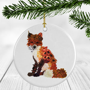 Floral Fox Ornament