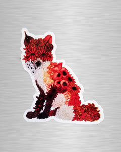 Floral Fox Vinyl Sticker/Decal