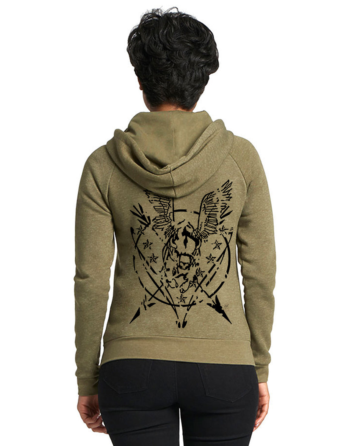 Flying Buffalo Grunge Seal Unisex Zip-up Hoodie