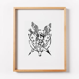 Flying Buffalo Grunge Seal Print