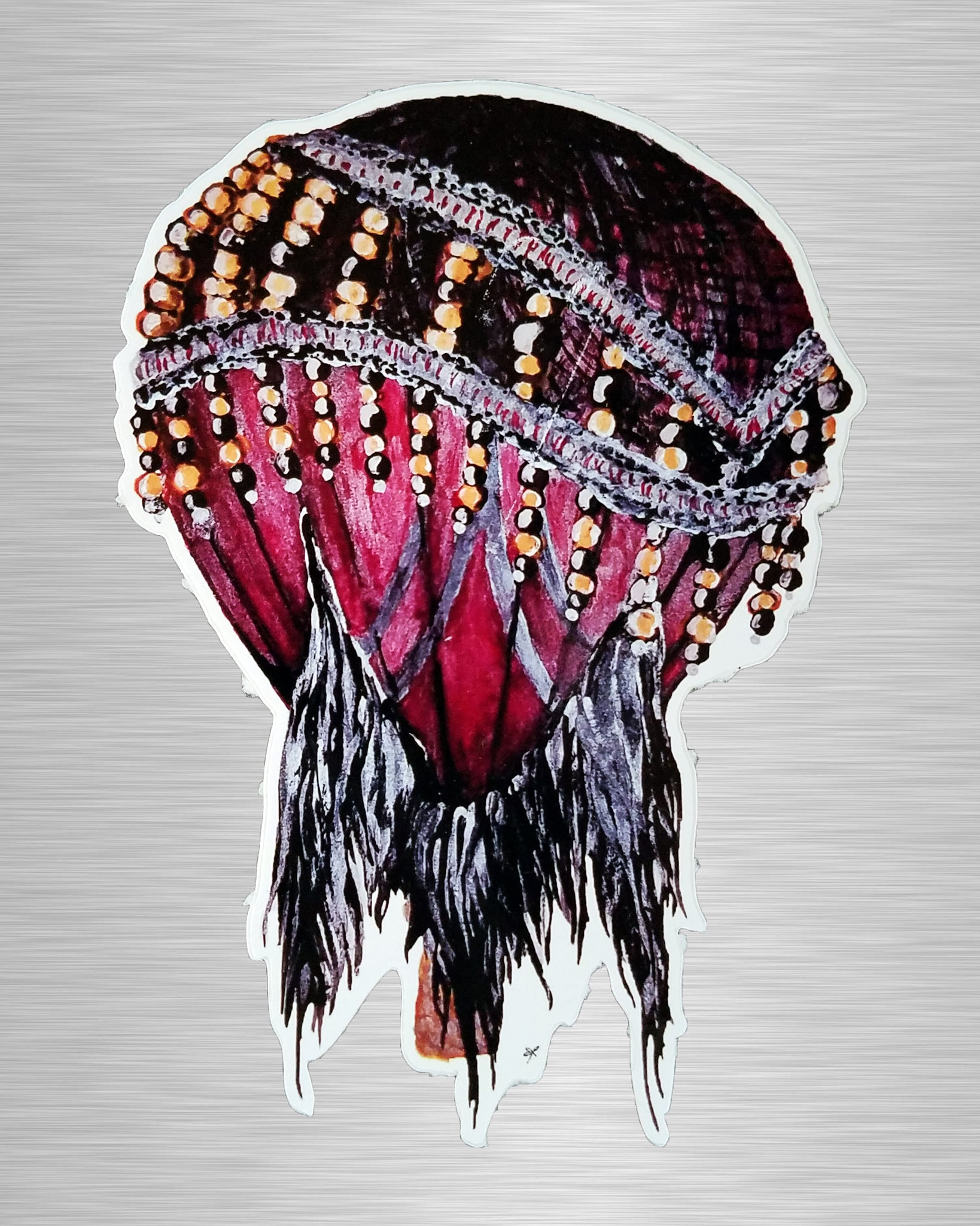 Great Gatsby Maroon Mesh Balloon Sticker/Decal