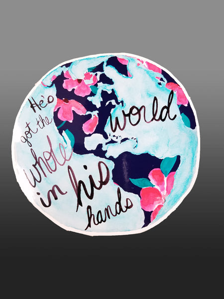 He's Got the Whole World in His Hands Vinyl Sticker/Decal