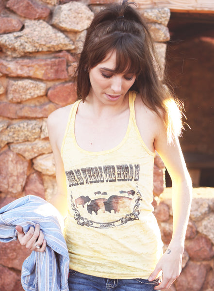 Home is Where the Herd is (Arizona) Racerback Burnout Tank