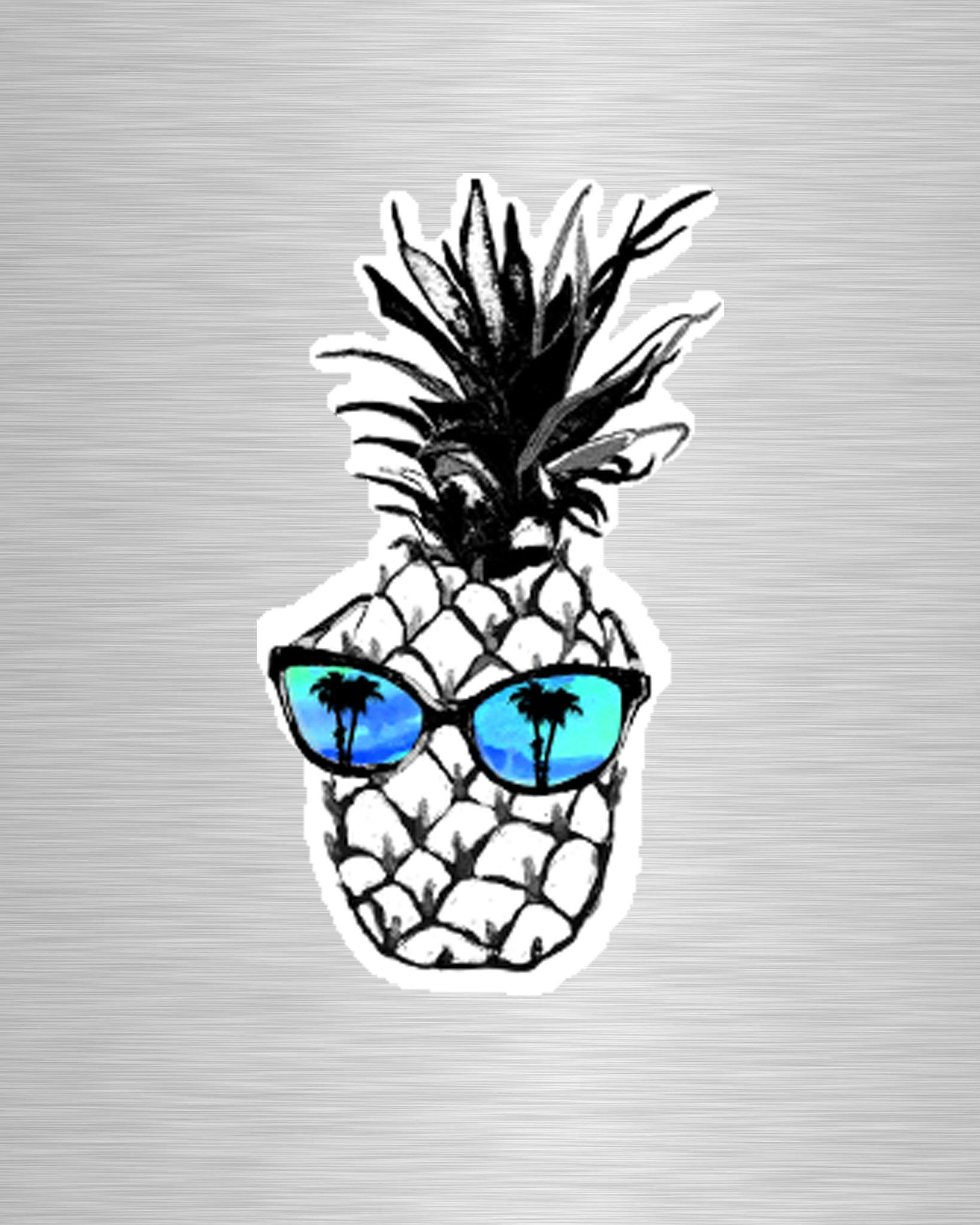 Hot Pineapple in Blue Vinyl Sticker/Decal