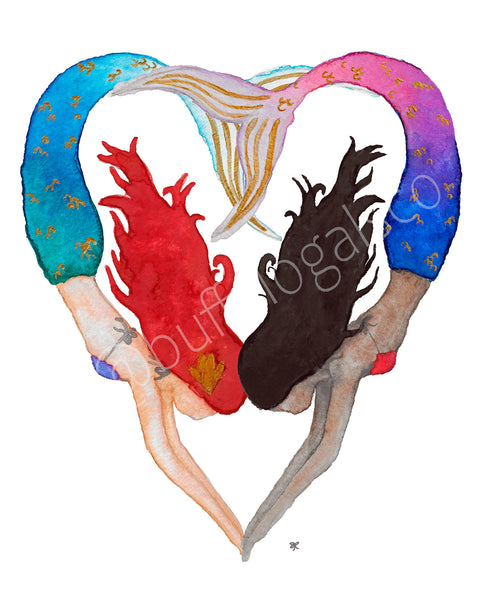 I Heart Mermaids Print