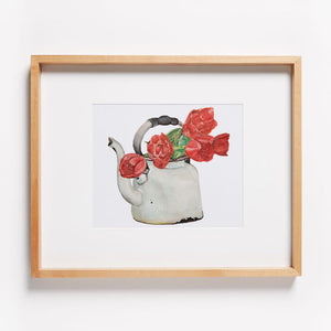 Kettle with Tulips Print