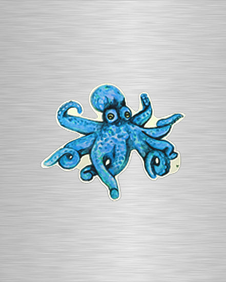 O is for Octopus Blue Vinyl Sticker/Decal