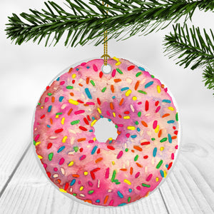 Pink Sprinkle Donut Ornament