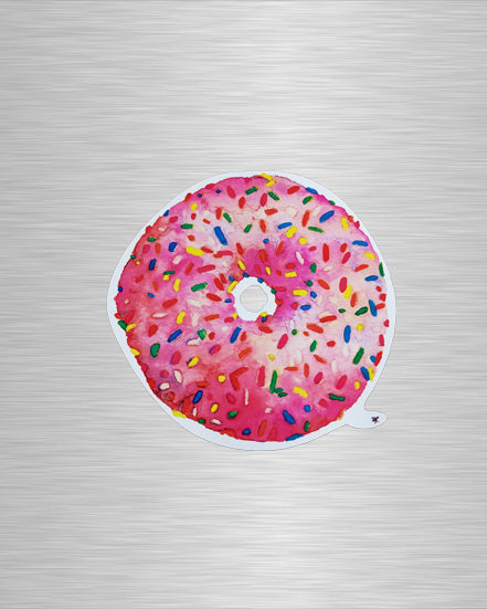 Pink Sprinkled Donut Vinyl Sticker/Decal
