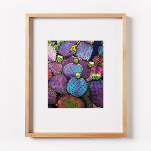 Purple Prickly Pear Cactus Print