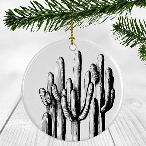 Saguaro Forest B&W Ornament