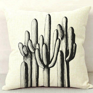 Saguaro Forest B&W Throw Pillow