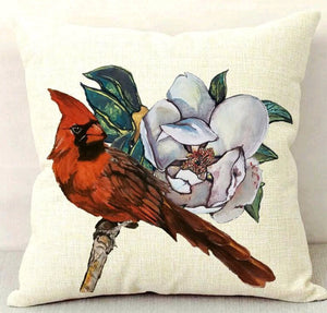 Cardinal on Magnolia Branch Throw Pillow