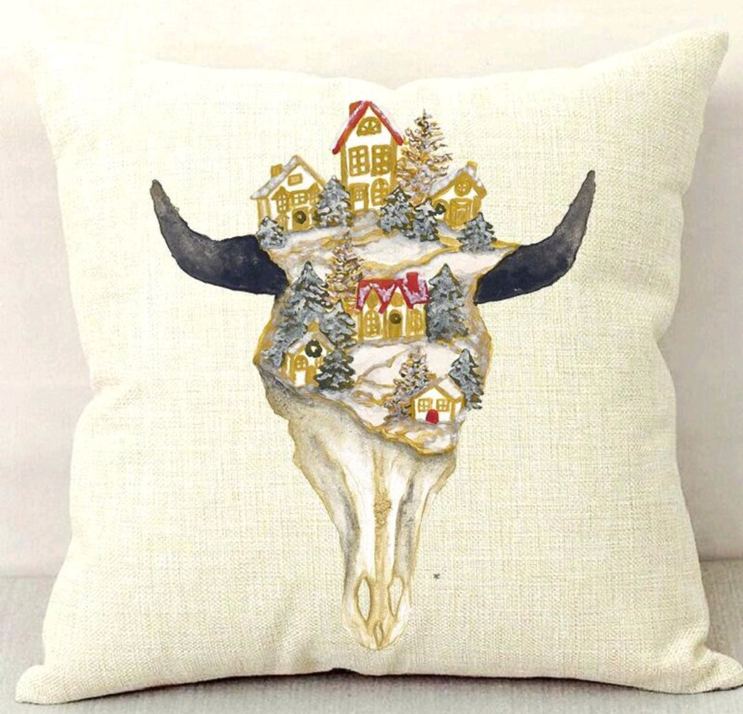Christmas Village Skull Throw Pillow