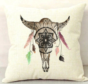 Mandala White Buffalo Throw Pillow