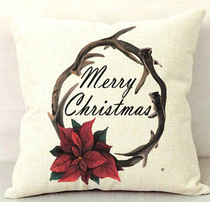 Merry Christmas Wreath Throw Pillow