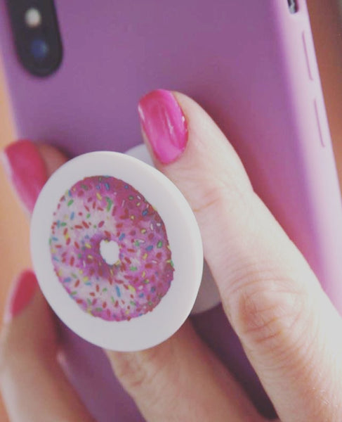 Pink Sprinkled Donut Pop-Socket