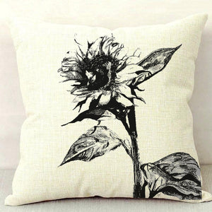 Sunflower B&W Throw Pillow