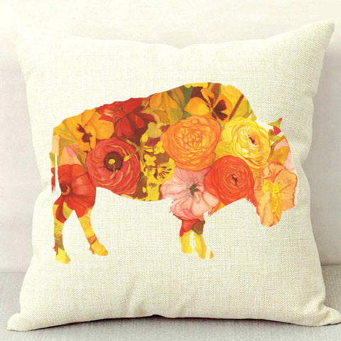 Sunset Poppy Throw Pillow