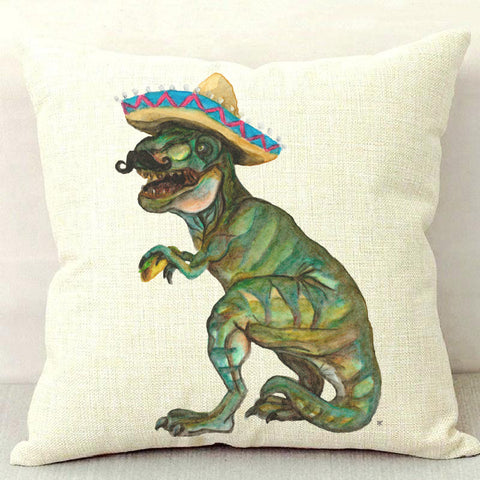 Taco Dino Throw Pillow