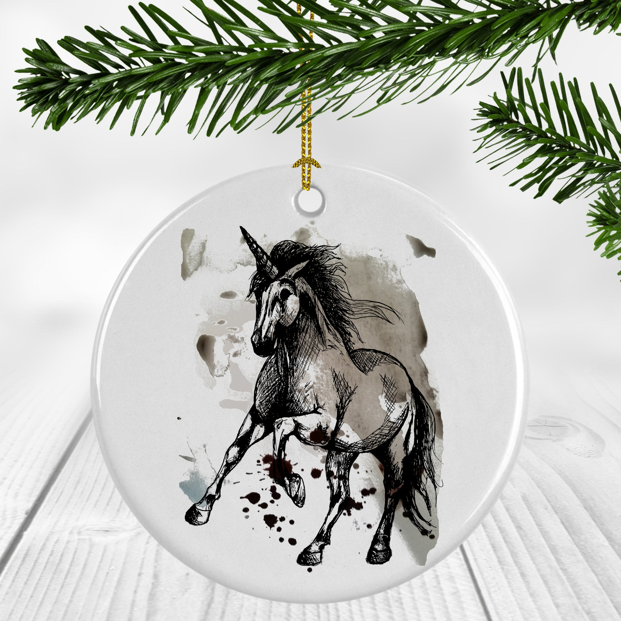 Unicorn on Paint Ornament