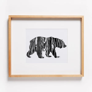 Wood Grain Bear Print
