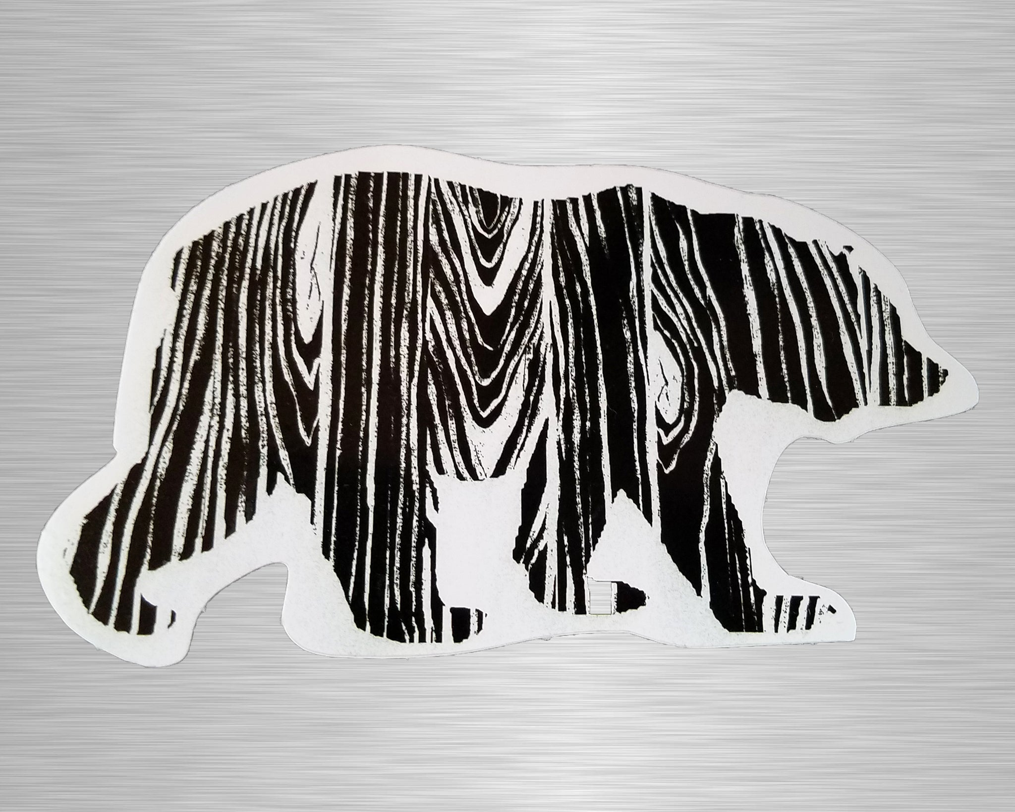 Wood Grain Bear Vinyl Sticker/Decal