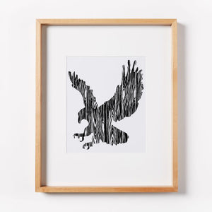 Wood Grain Eagle Print