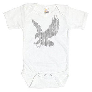 Wood Grain Eagle on White Onesie