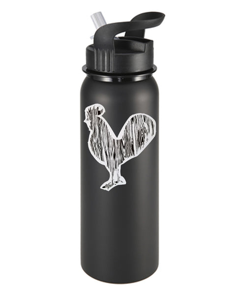 Wood Grain Rooster B&W Sticker/Decal