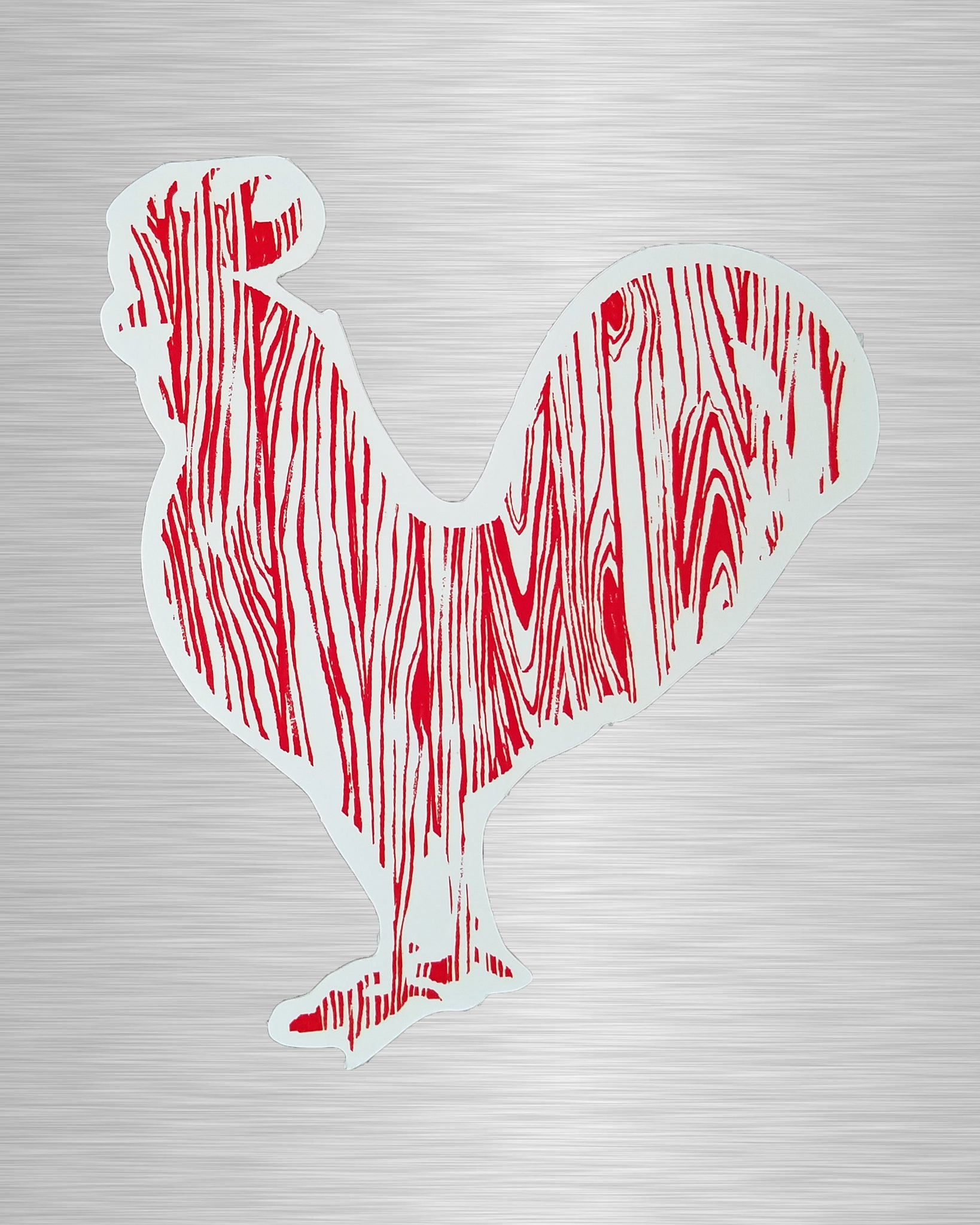 Wood Grain Rooster Sticker/Decal