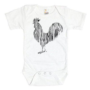 Wood Grain Rooster On White Onesie