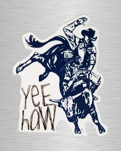 Yee Haw Bucking Bull Vinyl Sticker/Decal
