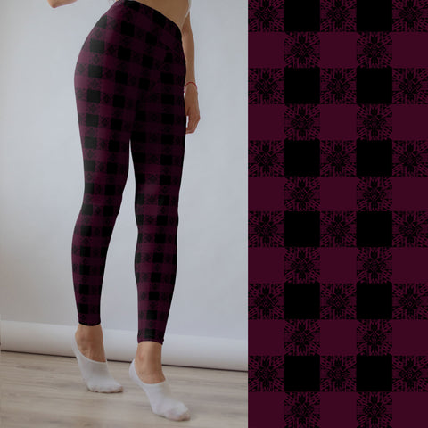 Berry Boho Plaid Leggings