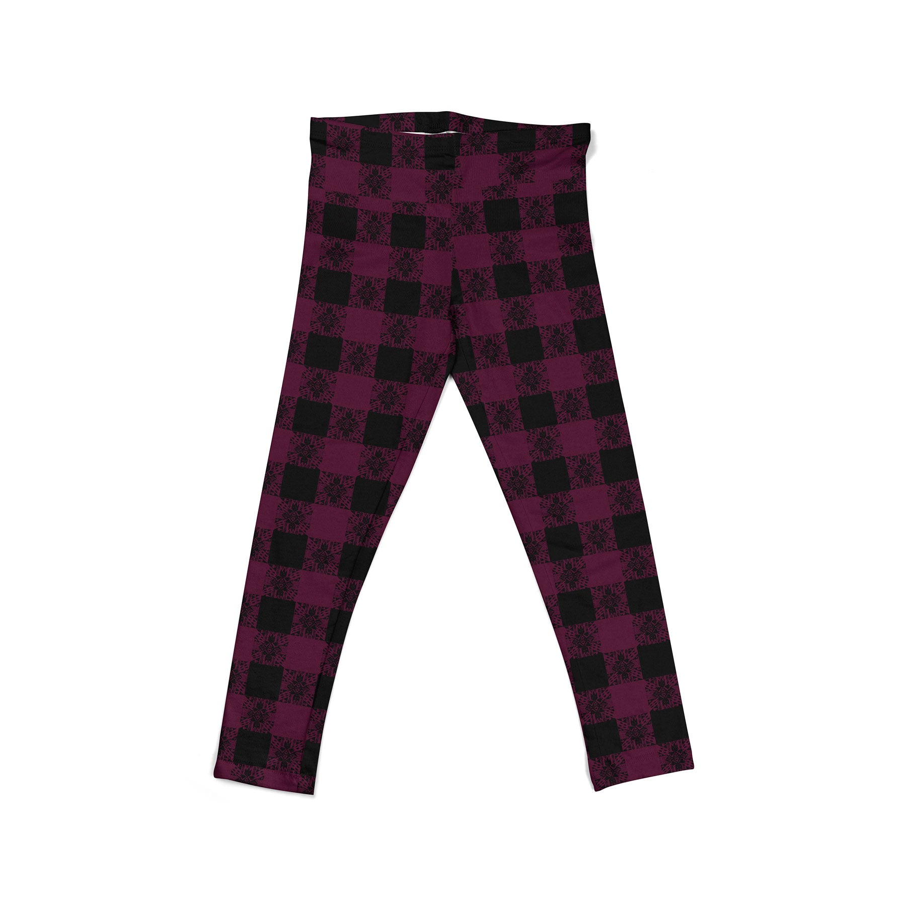 Berry Boho Plaid Youth Leggings