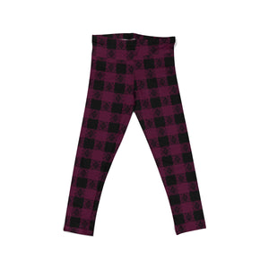 Berry Buffalo Plaid Youth Leggings