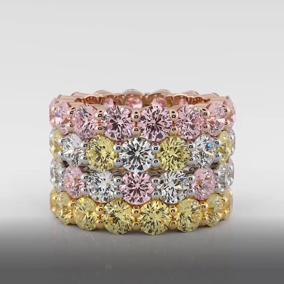Fancy colour Pink diamond eternity ring
